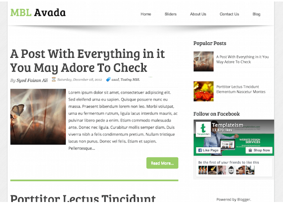 Download Avada Blogger template