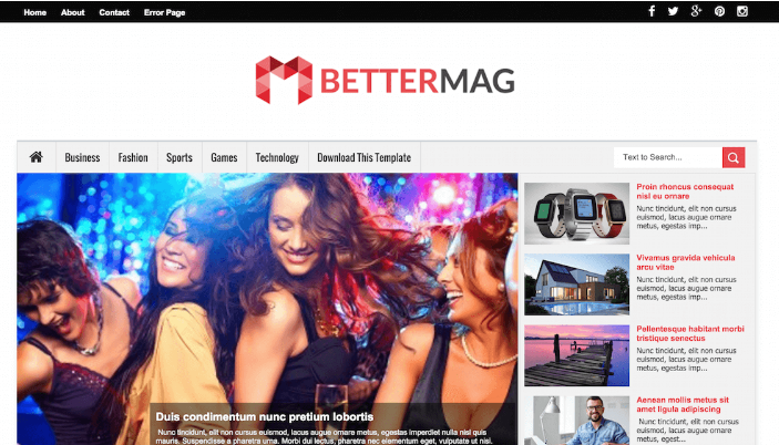 Download BetterMag Blogger Template