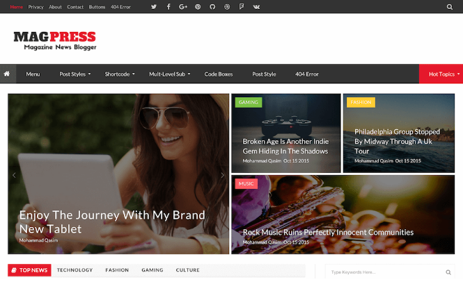 Download MagPress blogger Template