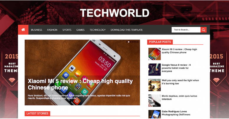 Download TechWorld Blogger template